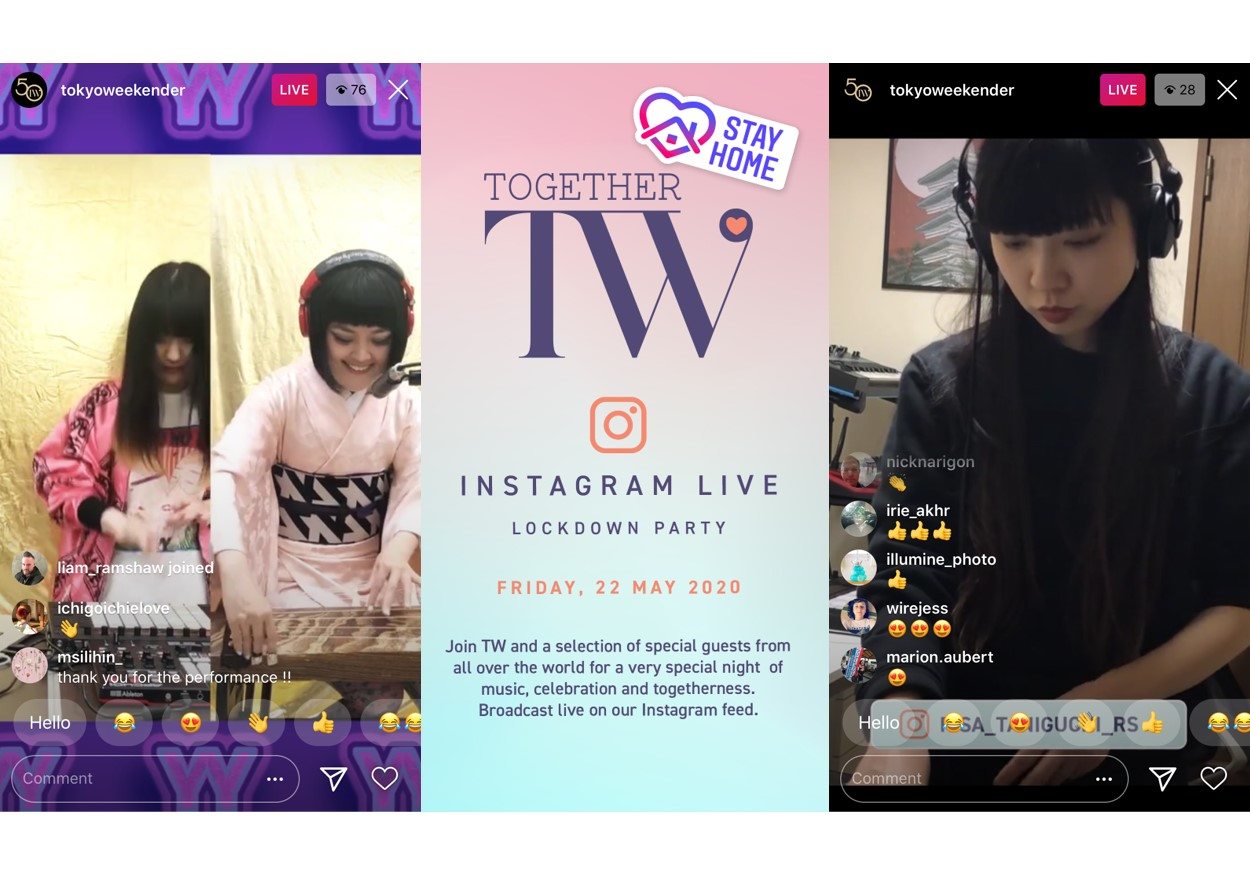 Tokyo WeekenderによるInstagramライブ「TW Together Instagram Live Lockdown Party」を開催